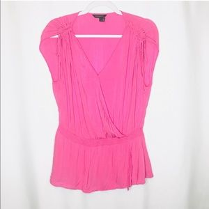 Banana Republic Hot Pink Tie Shoulder Wrap Top